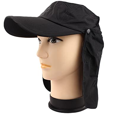 Outdoor Sun Hat Cap Removable Neck Guard Flap for Fishing Hiking Garden Hunting Camping (Black