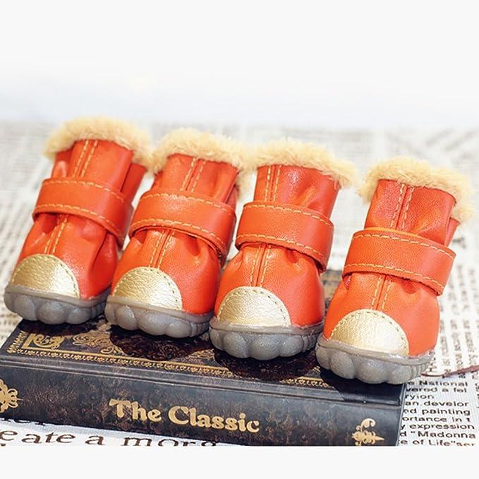 Longwei Pet Sneakers, Scarponcino in pelle di cotone Inverno caldo Oxford Boots 4 pezzi di stivali da cane 4 colori 5 Taglia (Color : Rink, Size : 4#)