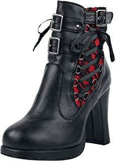 Demonia Crypto-51, Bottines Classiques Femme, (Blk-Red Lace Vegan Leather), 38 EU