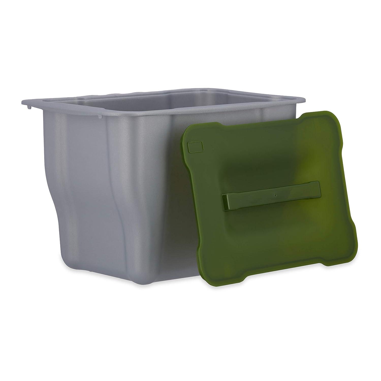 Relaxdays Abfallbehälter für die Küche, H x B x T: 17,5 x 24,7 x 18,5 cm, für Biomüll, mit Deckel, 5 Liter, anthrazit für Biomüll 10021757