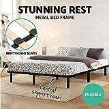 Artiss Double Metal Bed Frame Black Platform Bed Base
