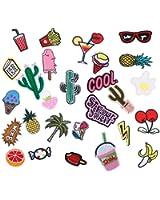RYMALL 28 Stk Patch Sticker, Niedlich DIY Kleidung Patches Aufkleber Sommer-Thema für T-Shirt Jeans Kleidung Taschen
