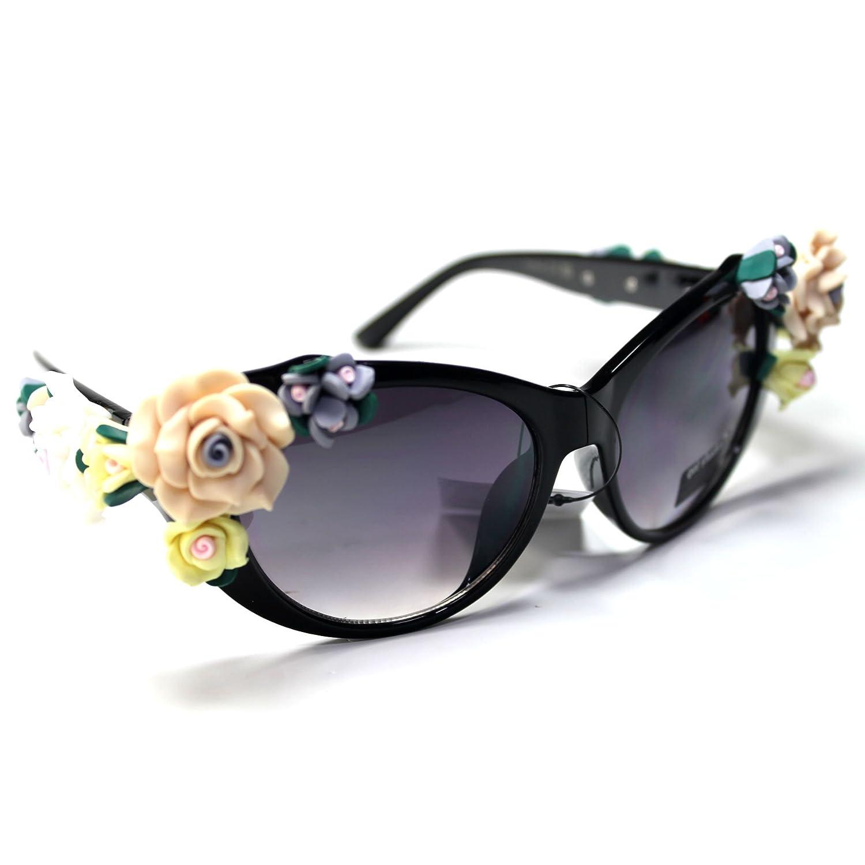 #Sonic23-S1 SONIC Eyewear Floral Flowers Cateye Women's Sunglasses