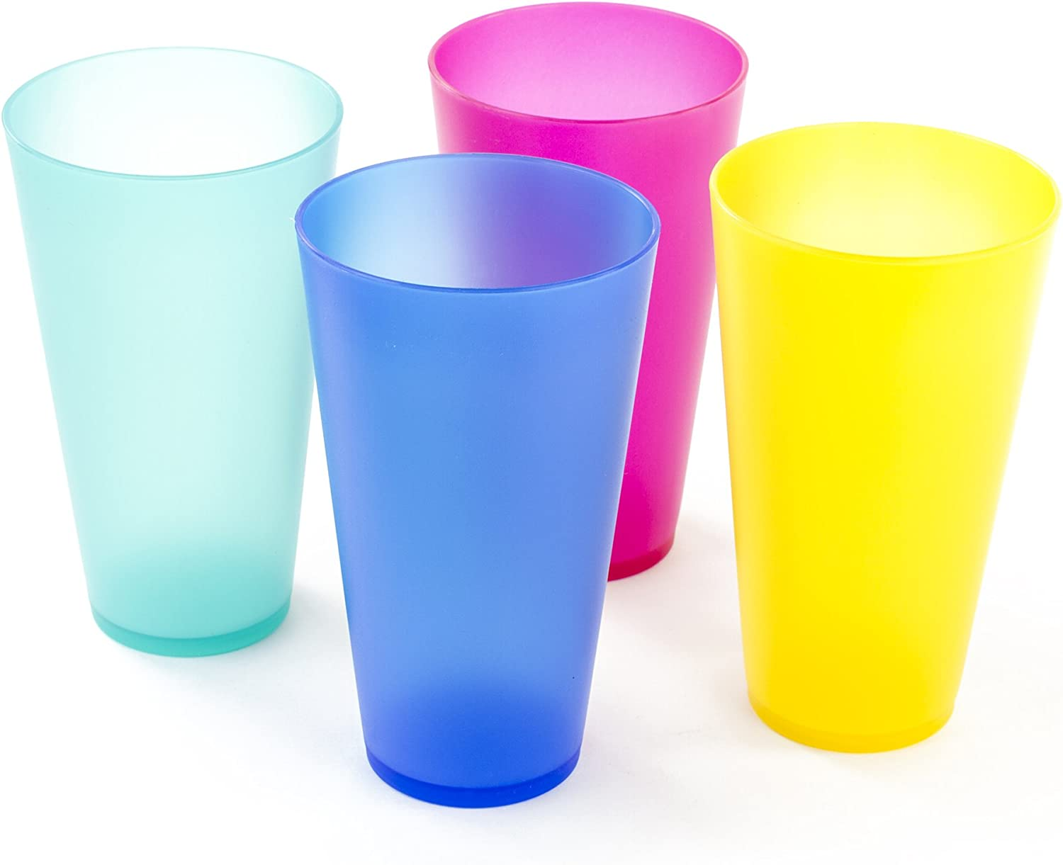 Imperial Home Reusable Plastic Cups, Set of 4, Multicolored