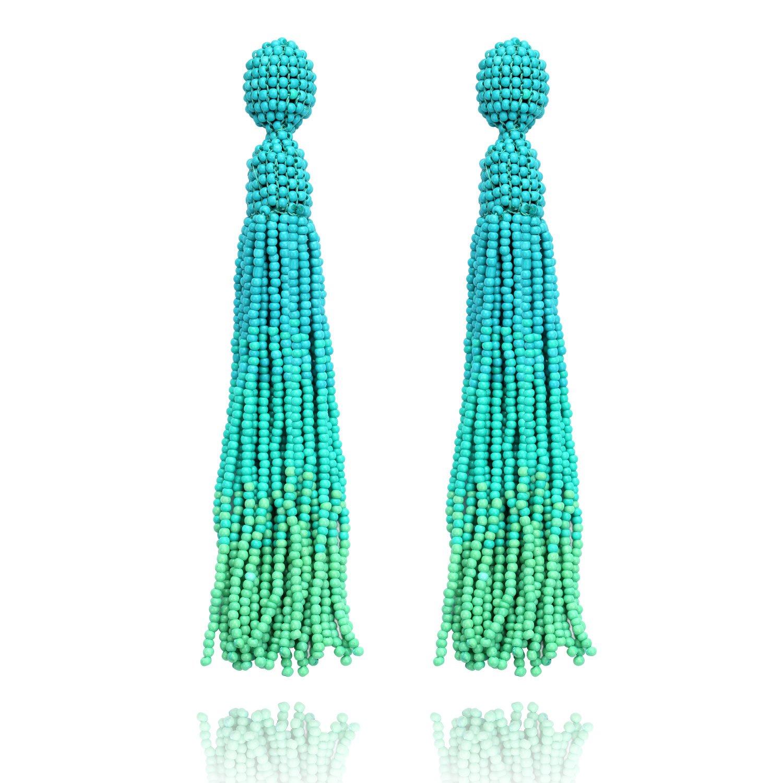 COZLANE Beaded Tassel Turquoise Long Bead Fringe Drop Dangle Stud Earrings for Women