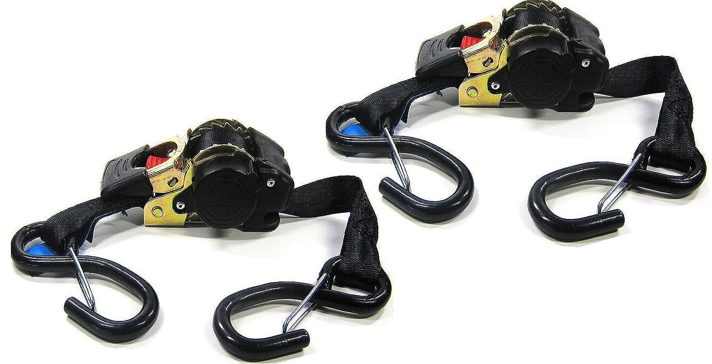 iapyx® - Juego de 2 correas de amarre elásticas (autoenrollables, 1,85 m, 600 kg, material de flejado de acuerdo con la norma EN 12195-2)