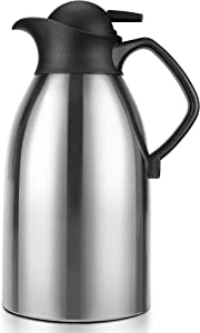 Coffee Carafe Insulated Thermos for Keeping Hot, Stainless Steel Double Walled Vacuum Thermal Carafes for Coffee, Hot Water, Tea, Beverage, 2L (68 Oz)