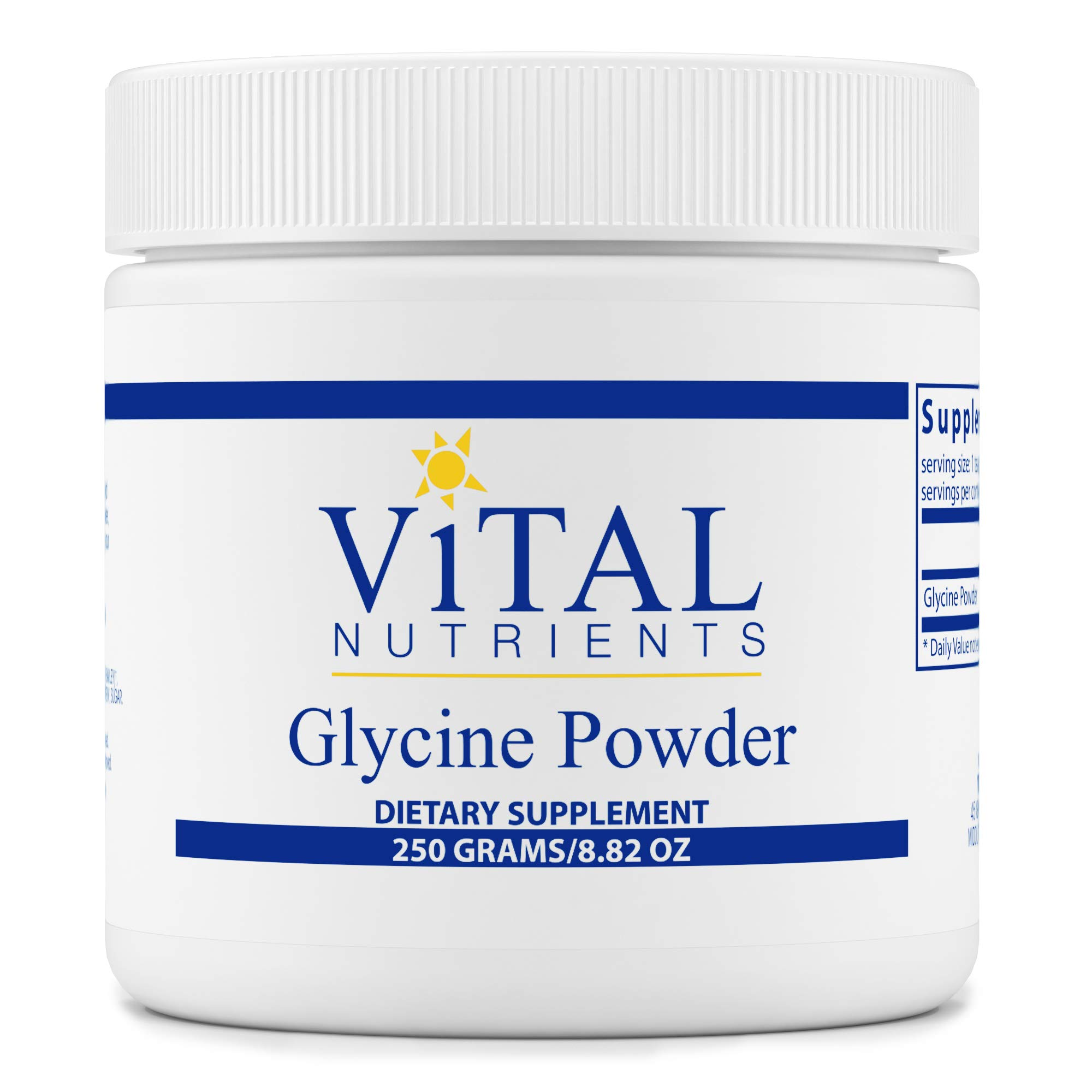 Vital Nutrients - Glycine Powder - Healthy Memory and Cognitive Support - Vegetarian - 250 Grams per Bottle