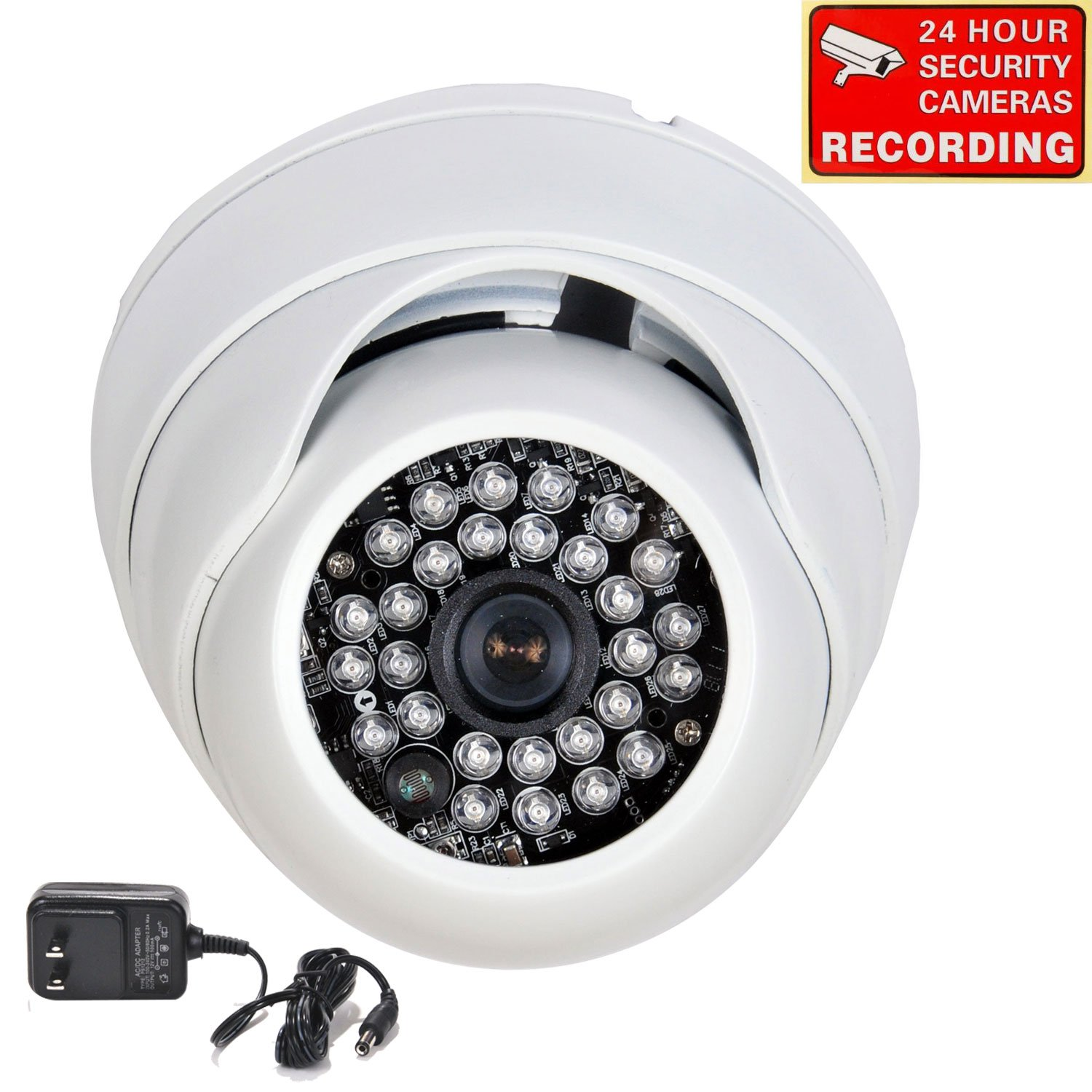 VideoSecu Dome Security Camera 700TVL Day Night Built-in 1/3'' Effio CCD Infrared 28 IR LEDs Vandal Proof 3.6mm Wide View Angle Lens for CCTV Home Video DVR System with Bonus Power Supply A74 by VideoSecu