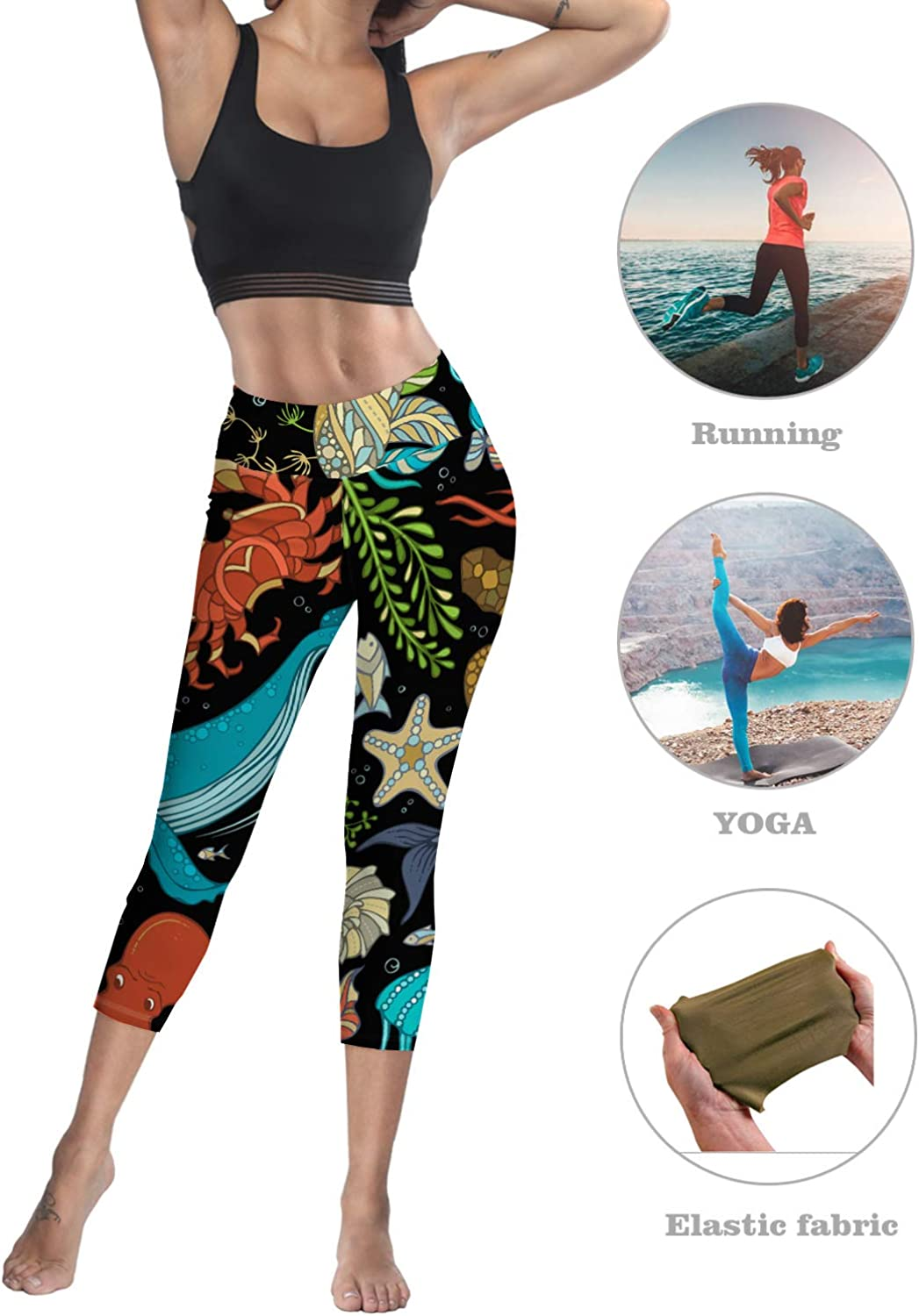 Womens Tummy Control High Waist Leggings Welcome to Our Happily Ever After Vintage Text on Wooden