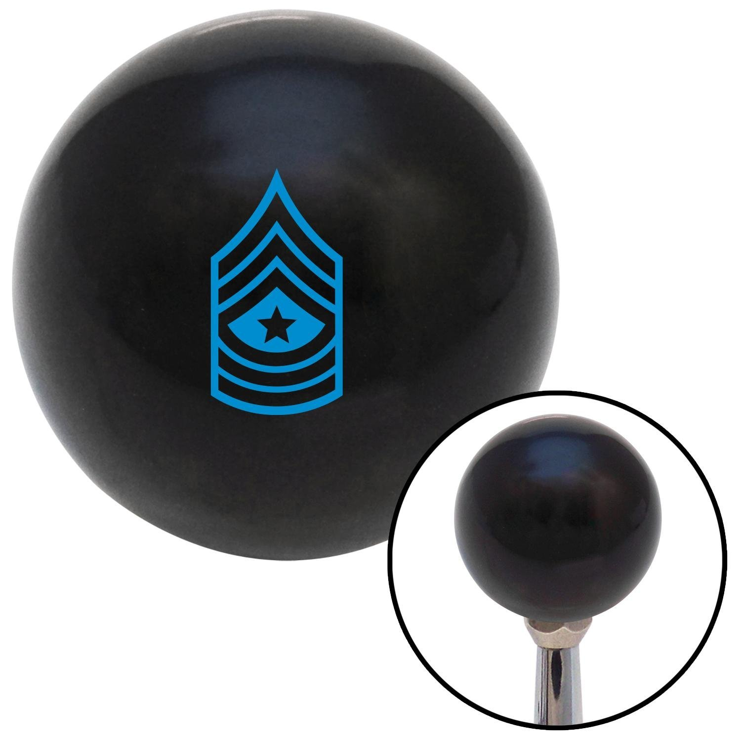 American Shifter 106650 Black Shift Knob with M16 x 1.5 Insert Blue Sergeant Major