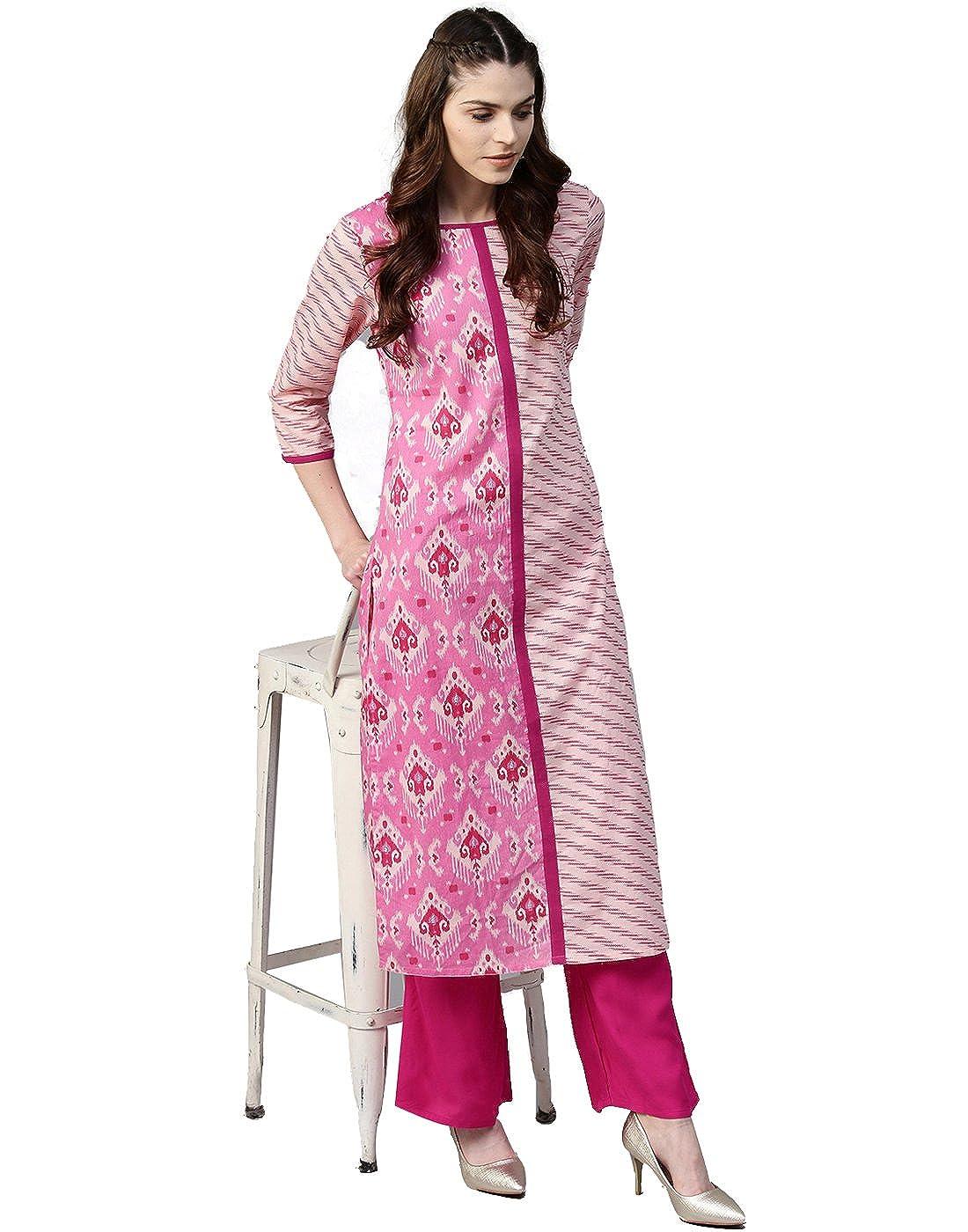 Jaipur Kurti Women Ethnic Casual Tunic Top Summer Dress Geometric Straight Cotton Kurta & Palazzo (Pink & Rani)