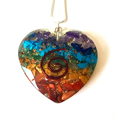 Reiki Energy Charged Chakra Orgone Crystal Heart Pendant with Silver Chain (Beautifully Gift Wrapped) 6PJwN