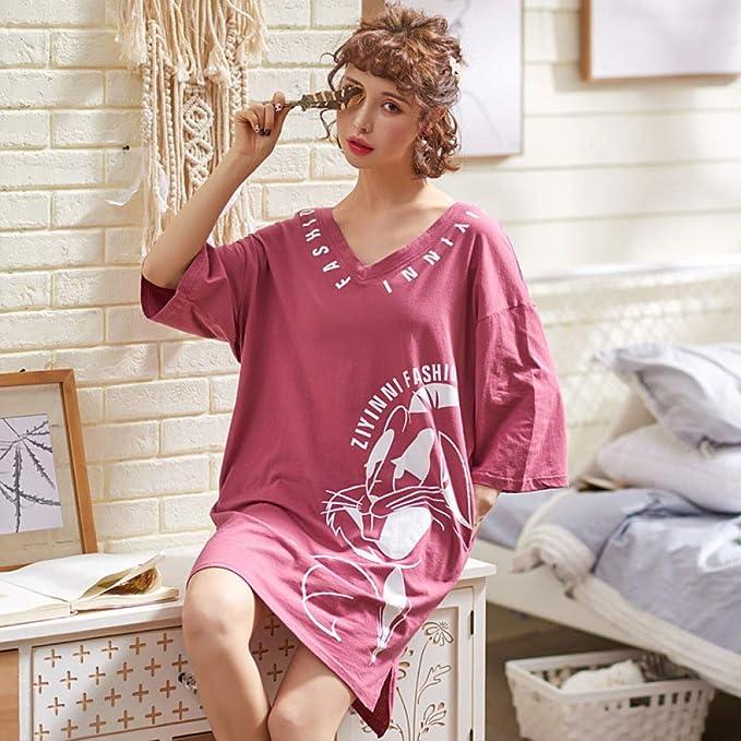 Pijama Nuevo Mono de algodón de Manga Corta para Mujer camisón Femenino Lindo algodón Suelto Servicio a Domicilio 10 XL: Amazon.es: Hogar