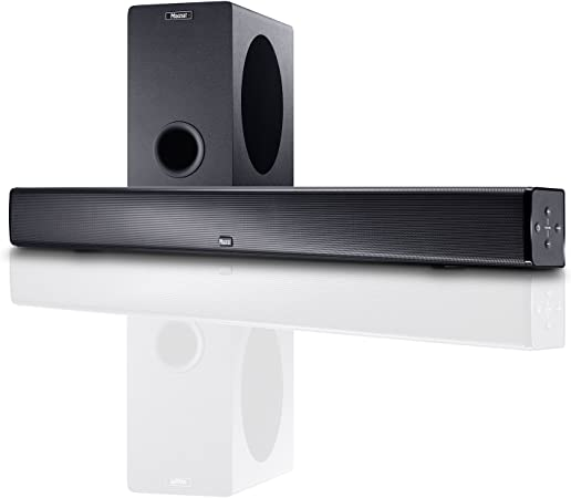 Magnat SBW 250 | Home Cinema Soundbar con subwoofer inalámbrico | Sidefire Altavoz Bluetooth 4.0 aptX, HDMI, CEC, ARC, Dolby Digital y Sonido 3D, Color Negro