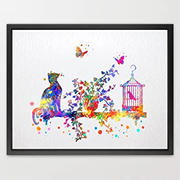 Amazon.com : Dignovel Studios 11X14 Cat birdcage and butterfly ...