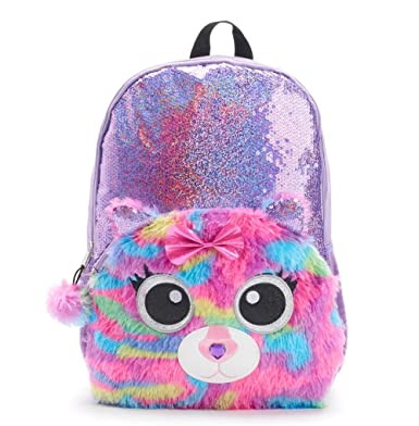 Amazon Com Kids Girls 17 Inch Sequin Backpack With Plush Kitty Cat