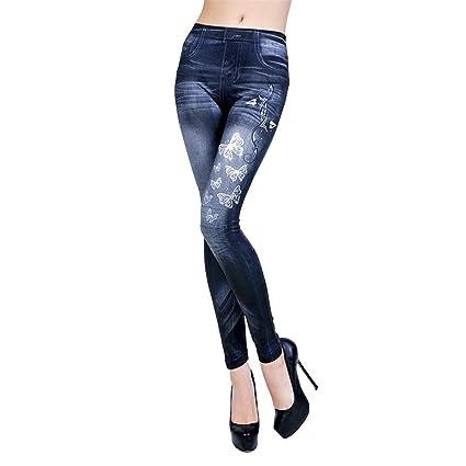 Longra ★ Cintura Alta Delgado Fit Flaco Pantalones Vaqueros Ocio Estilo Leggings - Diseño de pantalones vaqueros imitado