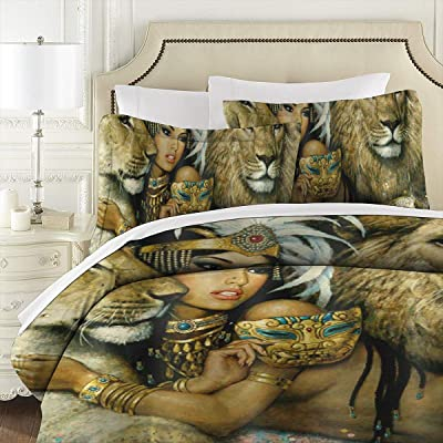 MrDeerrrr African Woman Egypt Queen and Lion 3D Quilt Reversible Bedding Sets Comforter Bedspread Set Queen Size 3 Piece Duvet Cover Set with 2 Pillow Cases for Men Women Kids 86 X 70 Inches: Home & Kitchen