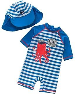59106796e1 Kids Baby Boy Summer Long Sleeve One Piece Rash Guard Swimsuit Sun  Protection Swimwear Size 9