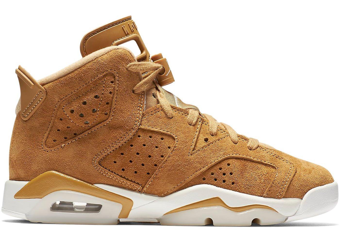 Nike Jordan Air Retro 6 Golden Harvest G.S Big Kids Youth Wheat 384665-705 (5.5) by NIKE
