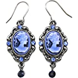 Blue Cameo Dangle Drop Earrings Fashion Jewelry