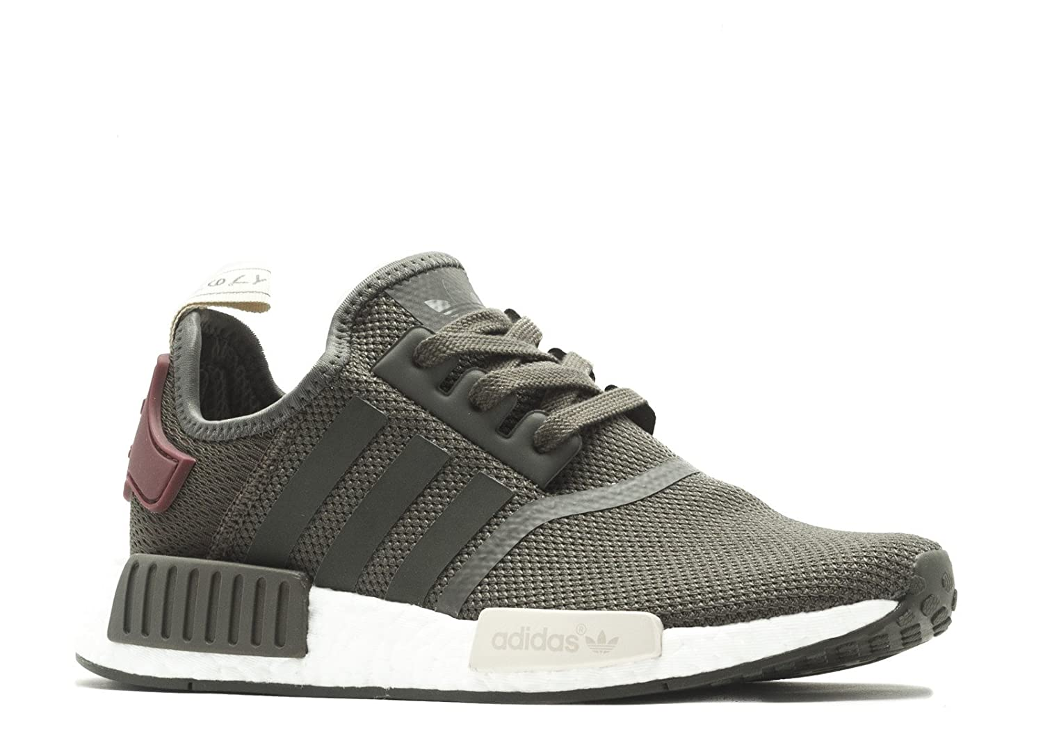 Utility Green Maroon Adidas Originals Men's Primeknit NMD_R1 Running shoes (Black)