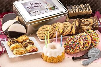 Dulcet Gift Basket Happy Birthday Tin Sprinkle Cookies Chocolate Crumb Cake Lemon Bundt