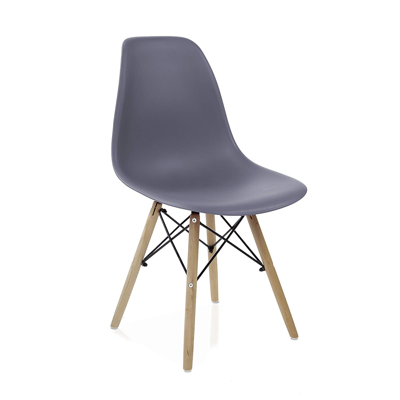 duehome Nordik - Pack 4 sillas, Silla de Comedor, Salon, Cocina o Escritorio, Patas Madera de Haya, Dimensiones: 47 x 56 x 81 cm de Altura (Gris)