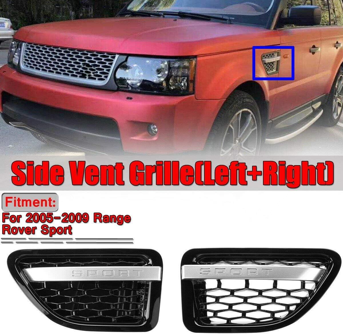 Domilay para Range Rover Sport 2005-2009 Ensamblajes de Parrilla de Rejilla de Ventilaci/óN de Aire de Guardabarros Delantero Negro y Cromado