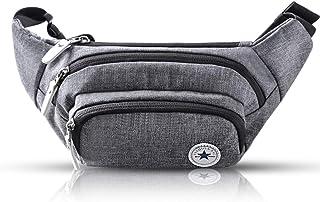 Evaduol Gürteltasche Bauchtasche Multifunktionale Hüfttasche 5 Fächer mit Reißverschluss Geeignet für Reise Wanderung und Alle Outdoor-aktivitäten Grau für Damen und Herren