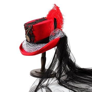 SAN QIAN WAN- Cuervo gótico del Victorian Sombrero negro y rojo de la boda Sombrero