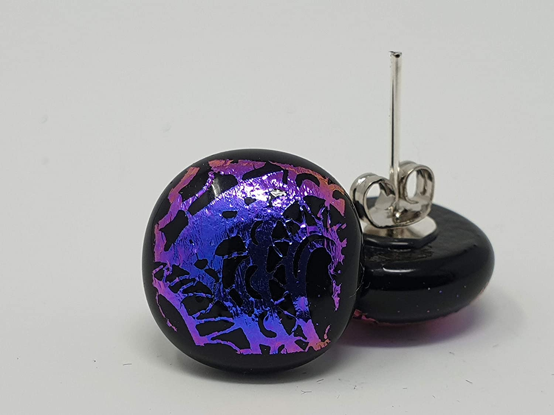Handmade in Yorkshire Zebra Print Pink//Purple dichroic glass earrings on sterling silver 925 Packaged in Beautiful Black Box.