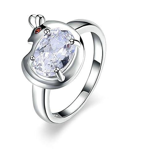 9d4881b377a0 Blisfille Anillos de Compromiso Plata Anillos Compromiso Oro Blanco Y Diamantes  Anillo de Mujer Chapado en