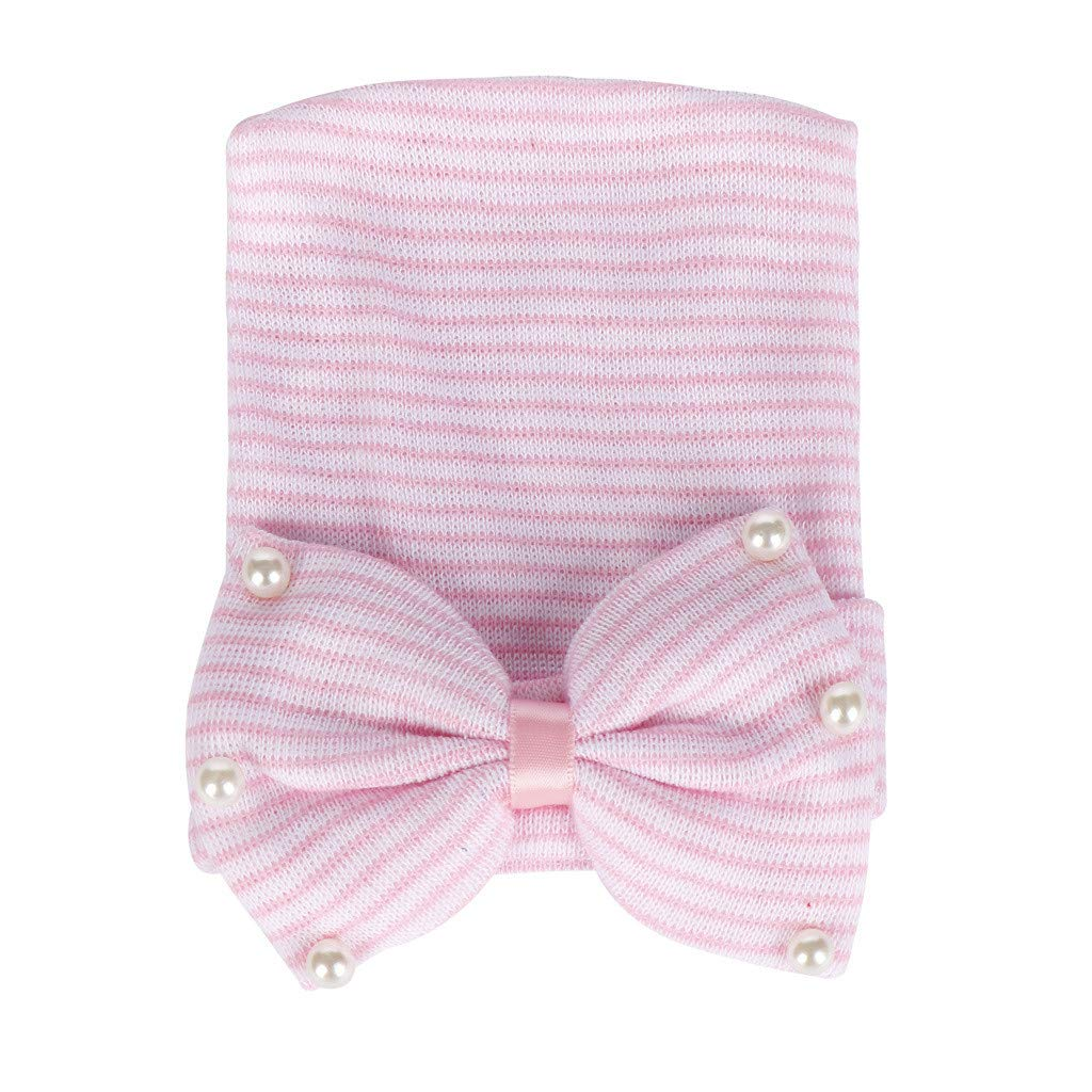 ❤️ Mealeaf ❤️ Fashion Newborn Baby Bearl Beading Bow-Knot Knitted Hemming Beanie Hat Cap(Pink,)