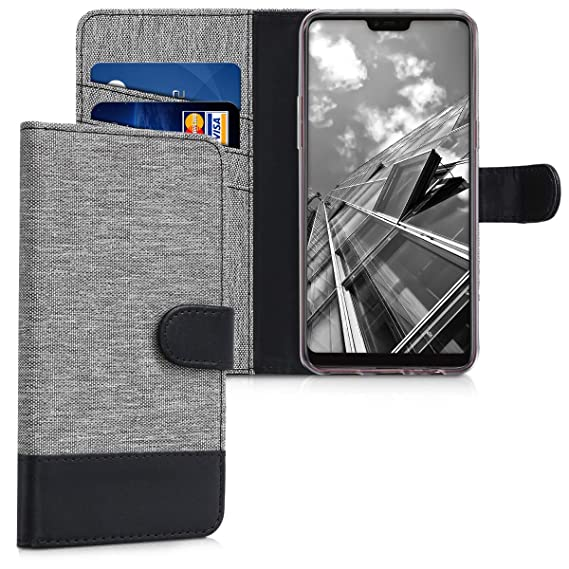 the best attitude ea27f 0f27c Amazon.com: kwmobile Wallet Case for Oppo F7 - Fabric and PU Leather ...