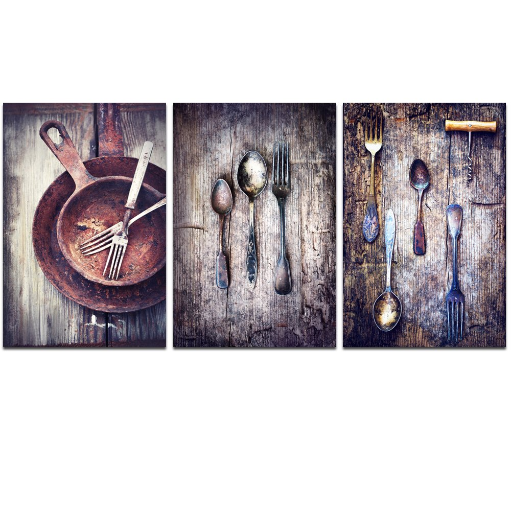 LevvArts 3 Piece Canvas Paintings Vintage Silverware on Rustic Wooden Table Pictures Wall Art Classic Fork Spoon Knife Giclee Print Kitchen Decor Gallery Wrapped Artwork