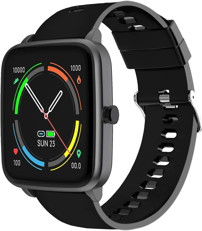 Smartwatch, Reloj Inteligente Hombre con Pulsómetros Monitor de Sueño 5 Caras Podómetro 10 Modos Deportivos y Registrador de Ruta y Smart Watch Pulsera Actividad Inteligente para Hombre y Mujer Negro