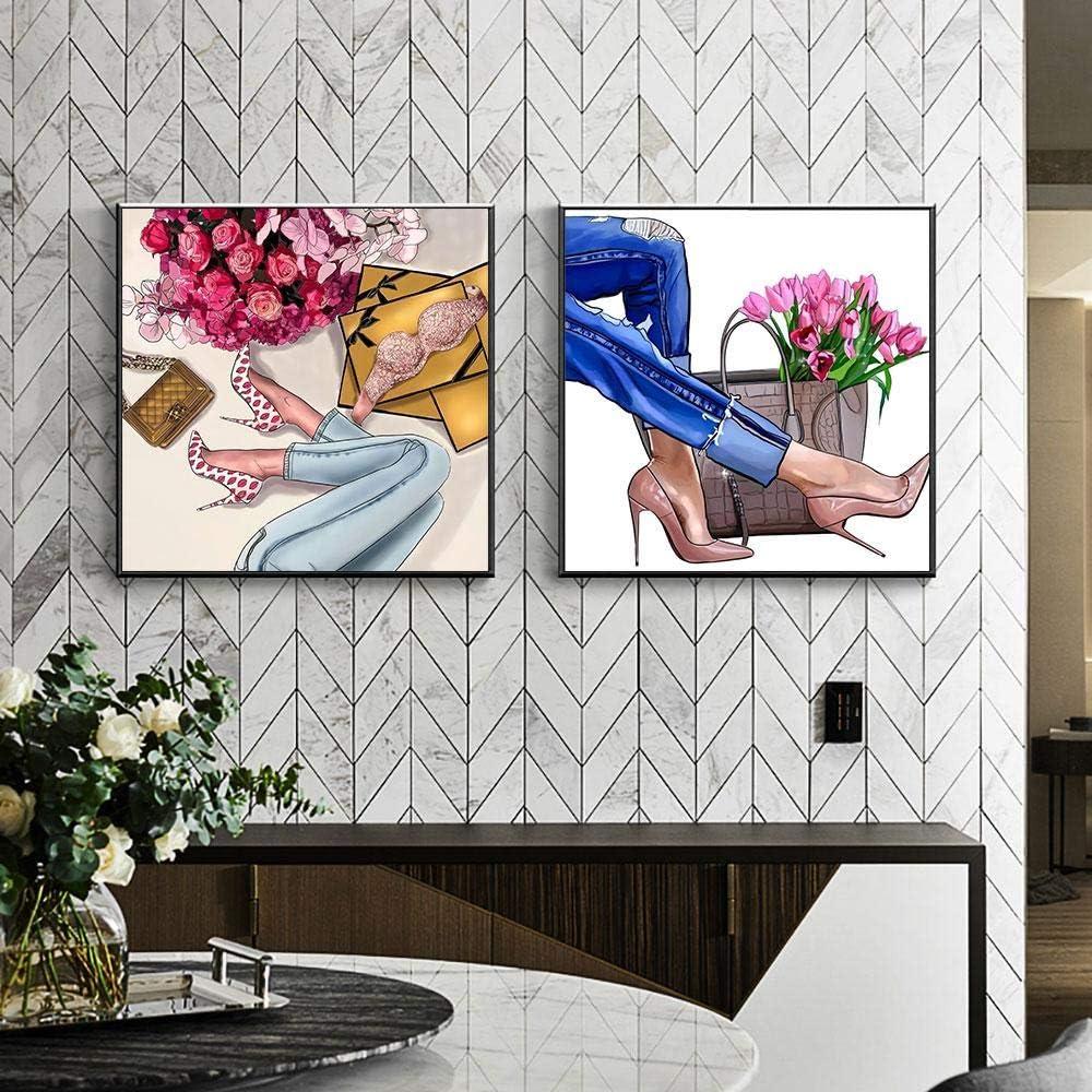 ZDFDC Moda Zapatos de tacón Alto Flor Mujer Pintura sobre Lienzo Carteles e Impresiones Cuadro de Pared para Dormitorio Sala de Estar Decoración-50x50cmx2 sin Marco