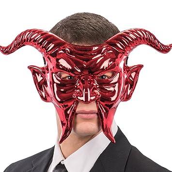 Carnival Toys 797 Máscara Demonio metalizada, rojo, talla única