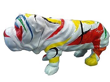 Meubletmoi Statue Chien Bulldog Blanc décoration Multicolore - Style ...