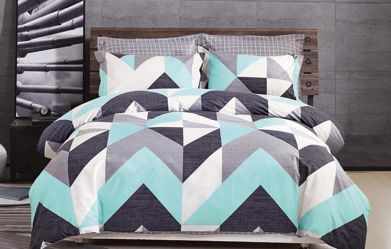 Minimal Style Geometric Shapes Duvet Quilt Cover Scandinavian Midcentury Modern Geo Print 100-percent Cotton Bedding Set Soft Casual Simplistic Triangle Stripes Chevron Pattern (Queen, Turquoise)