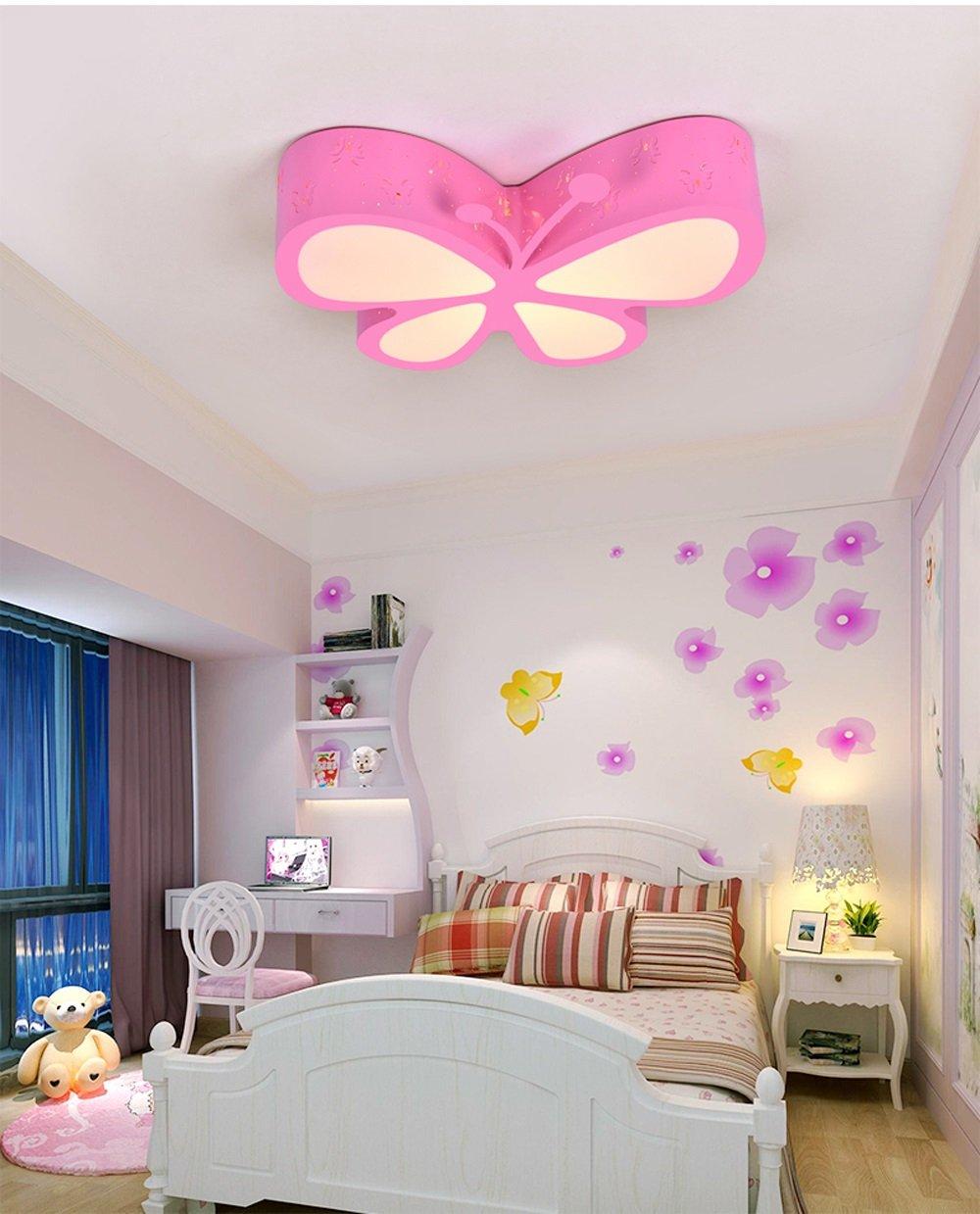 Kronleuchter Deckenleuchte Schmetterling Lampe, Schöne LED Deckenleuchte Wohnzimmer Wohnzimmer Wohnzimmer Schlafzimmer Mädchen Und Baby Acryl Deckenleuchte (pink Grün) (Farbe   Pink) 43b325