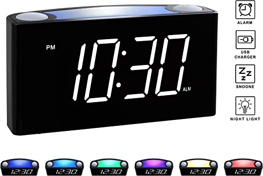 "... Rocam Digital Alarm Clock for Bedrooms Large 6.5/"" LED Display with Dimmer"