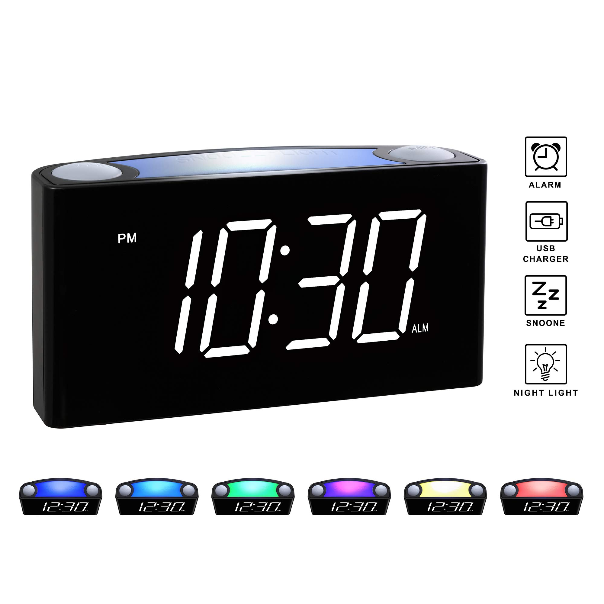 Rocam Digital Alarm Clock for Bedrooms - Large 6.5'' LED Display with Dimmer, 7 Color Night Light, Easy to Set, Snooze Function, USB Charger Ports, Battery Backup, 12/24 Hours for Desk, Home & Kitchen