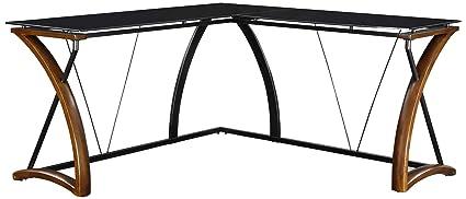 Whalen Furniture Newport Wood U0026 Glass L Shaped Office Computer Desk