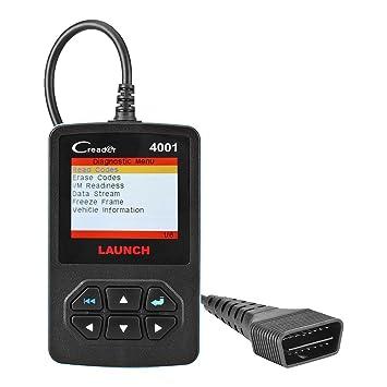 Launch CReader CR 4001 Lector automático de códigos OBD2, escáner completo OBDII/EOBD, diagnóstico automático con sensor de O2 y prueba de monitor a bordo: ...