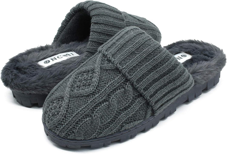 ONCAI Women's-House-Slippers-Winter-Fluffy-Slipper-for-Women Knitted Fleece Memory Foam Slip-on Cozy Warm Outdoor Lady Fur Lined Garden Home Slippers (Size 5-11)