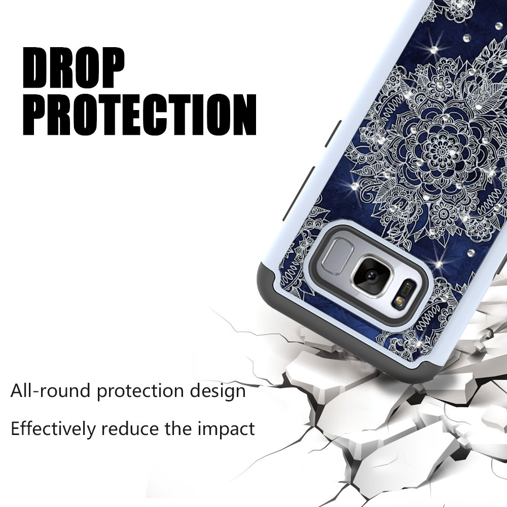 S8 Case, MagicSky [Shock Absorption] Studded Rhinestone Bling Hybrid Dual Layer Armor Defender Protective Case Cover For Samsung Galaxy S8(Flower1)