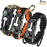 3 Pack Paracord Bracelet, Survival Gear Kit with Compass, Fire Starter, Emergency Knife , Whistle, Ideal for Hiking, Camping, Fishing, Hunting, Even in Dangerous